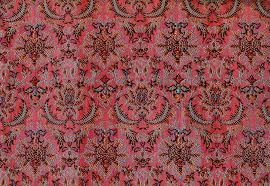A beautiful, red brocade fabric.