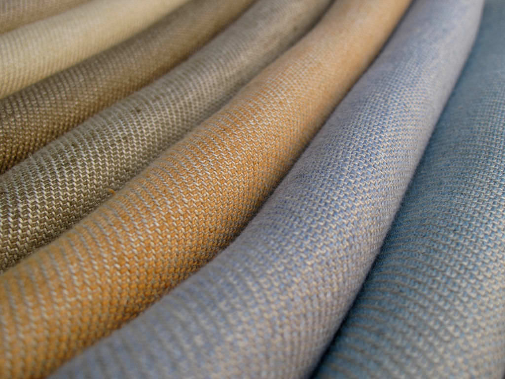 A beautiful set of colorful linen fabrics.