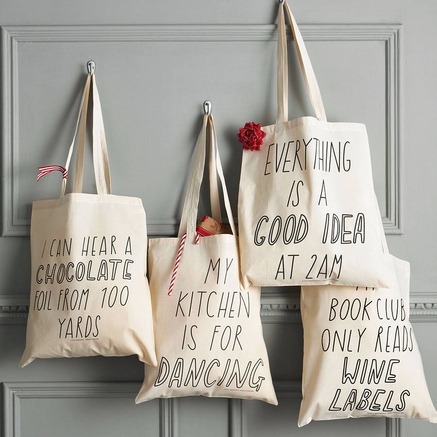 four unique, beautiful tote bags