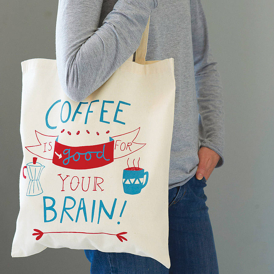A tote bag with a slogan