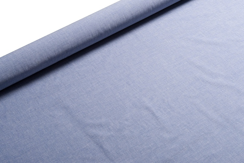 A blue chambray fabric.