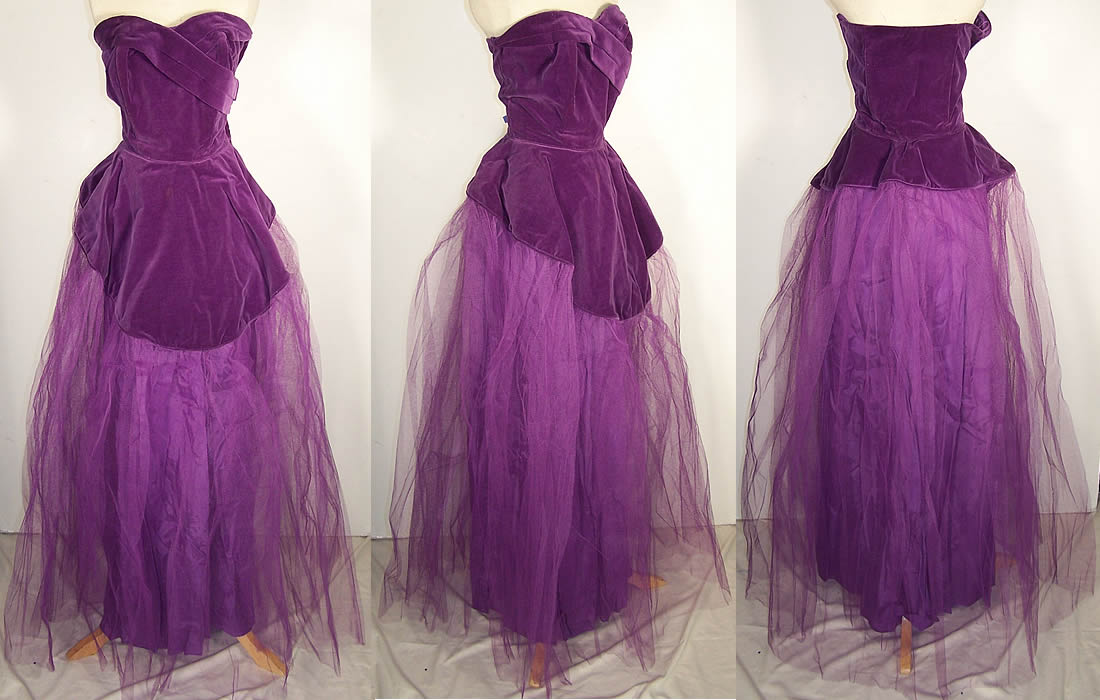 A violet dress made of velvet fabric.