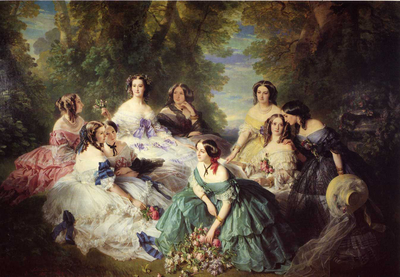 Empress Eugenie along with other ladies wearing cashmere made dresses.
