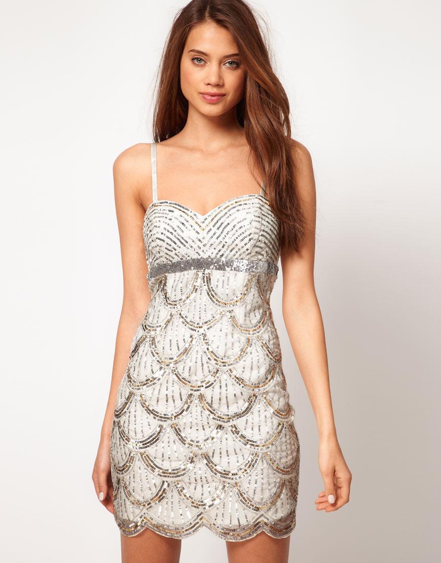 A woman wearing an Embellished dress.