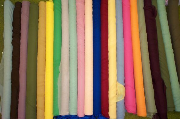A set of various colored Georgette fabric.