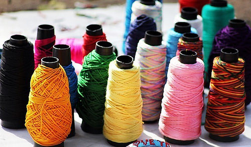 Colorful sewing threads of quality.