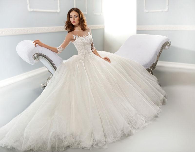 A woman wearing a wedding dress.