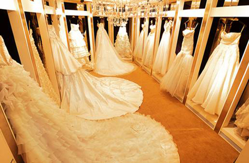 An array of beautiful wedding dresses.