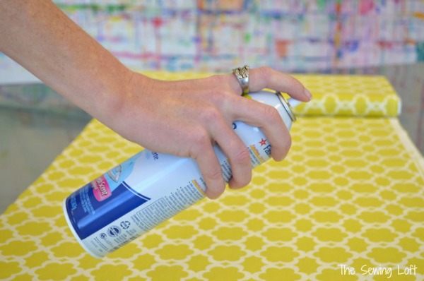 Spray starch on fabric.