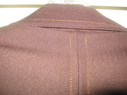 Sewing technique called topstitching.