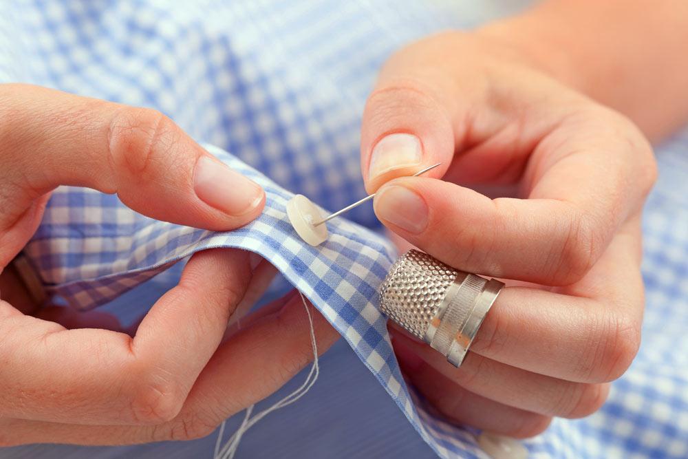 Hand stitching.