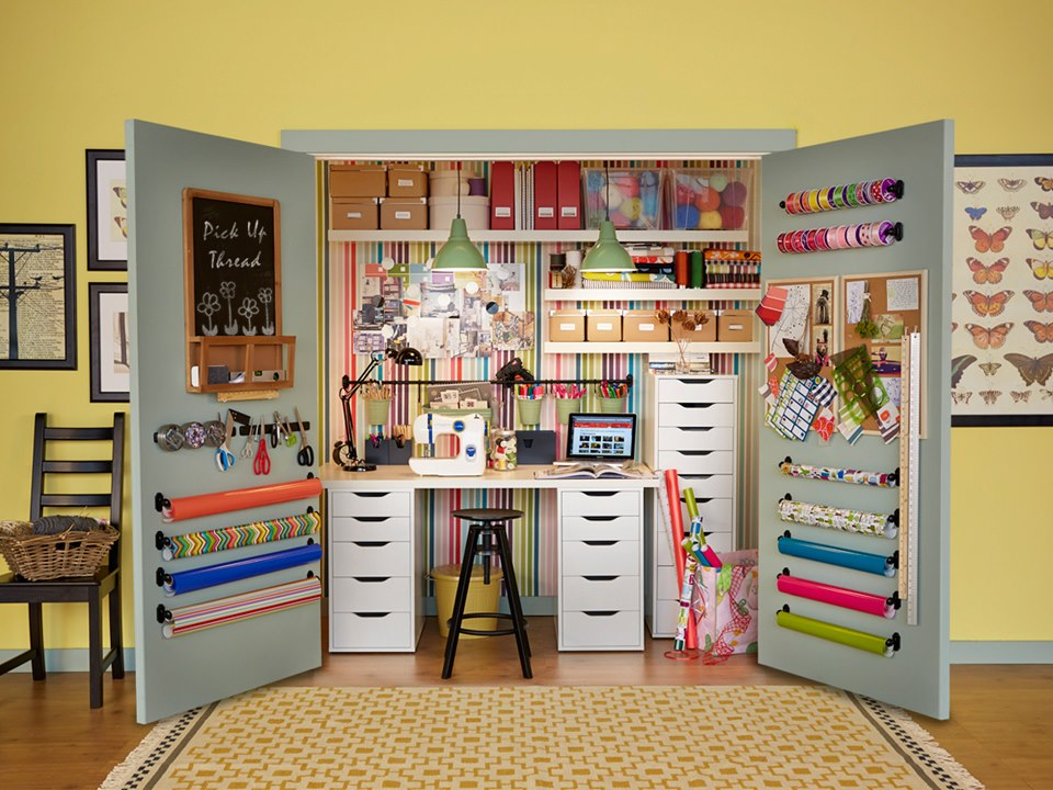 Organizing sewing tools and area.